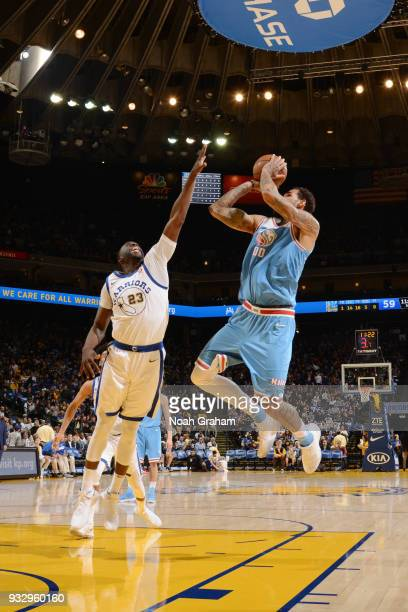 Willie CauleyStein of the Sacramento Kings shoots the ball during the game against the Golden State Warriors on March 16 2018 at ORACLE Arena in...