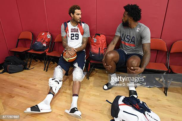 Willie CauleyStein of the USA Basketball Mens Select Team and DeAndre Jordan of the USA Basketball Men's National Team converse after a practice on...