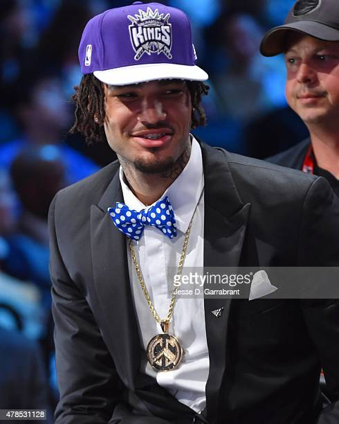 Willie Cauley-Stein the 6th pick overall in the 2015 NBA Draft by the Sacramento Kings speaks to the media during the 2015 NBA Draft at the Barclays...