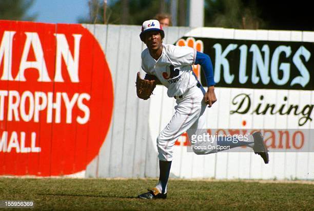 Willie Davis of the Montreal Expos chases after a fly ball during a spring training Major League Baseball game circa 1974 Davis played for the Expos...