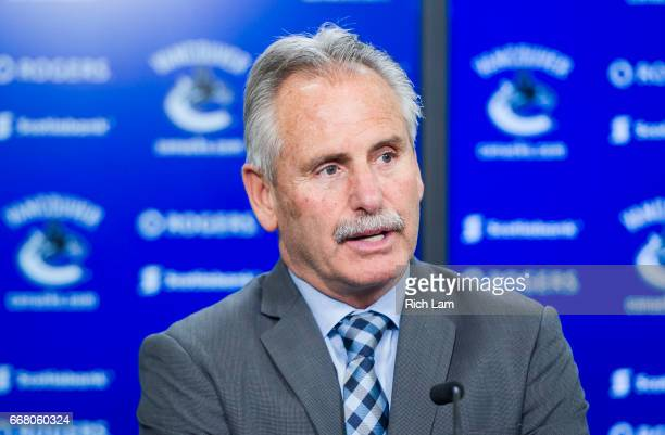 Willie Desjardins Head Coach of the Vancouver Canucks speaks with reporters after NHL action against the Edmonton Oilers on April 8 2017 at Rogers...