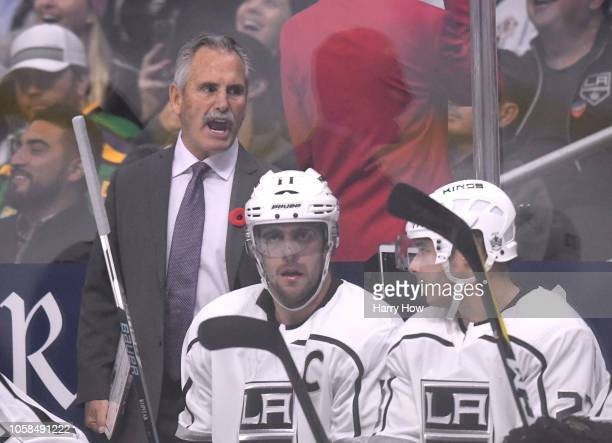 Willie Desjardins of the Los Angeles Kings behind the bench as the interhim head coach during the second period at Staples Center on November 6 2018...