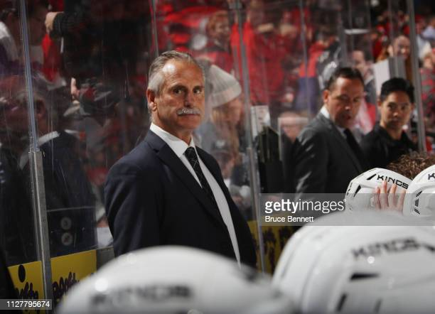 Willie Desjardins of the Los Angeles Kings handles bench duties against the New Jersey Devils at the Prudential Center on February 05 2019 in Newark...