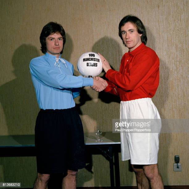 Willie Donachie of Manchester City and Sammy McIlroy of Manchester United wearing vintage football kits to signify the Centenary of the Manchester...