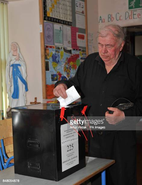 Willie Duggan becomes the first person to vote on the fiscal treaty referendum on Tory Island off the coast of Donegal Ireland