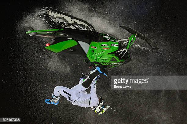 Willie Elam flips during his second run during Snowmobile Freestyle at Winter X Games 2016 at Buttermilk Mountain on January 29 2016 in Aspen...