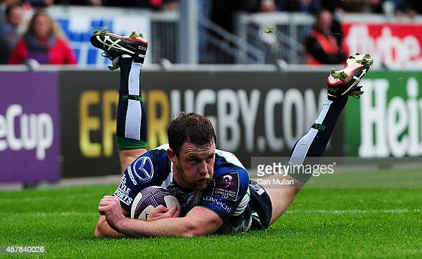 Willie Faloon on Connacht goes over for a try only for it to be disallowed for a forward pass during the European Rugby Challenge Cup match between...