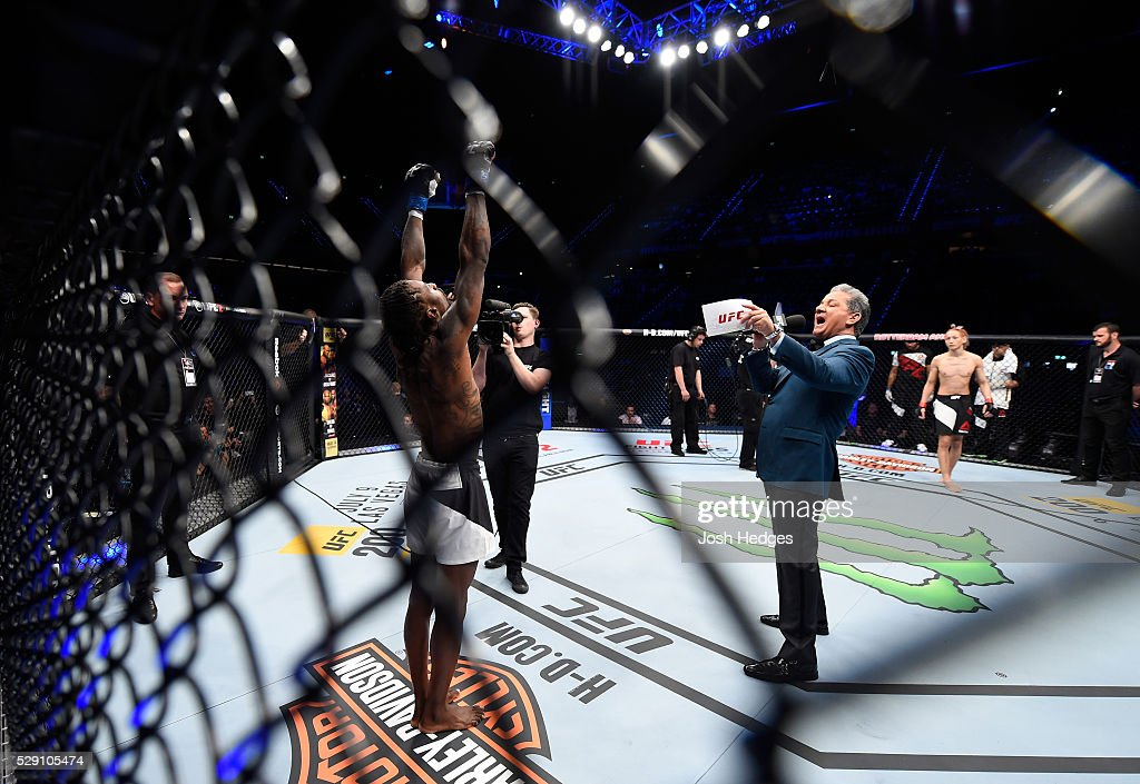 Willie Gates is introduced by Bruce Buffer before facing Ulka Sasaki in their flyweight bout during the UFC Fight Night event at Ahoy Rotterdam on May 8, 2016 in Rotterdam, Netherlands.