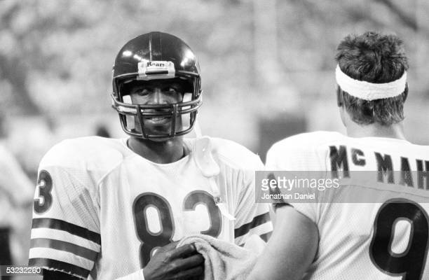 Willie Gault of the Chicago Bears looks on during the game against the Minnesota Vikings at the Metrodome on September 19 1985 in Minneapolis...