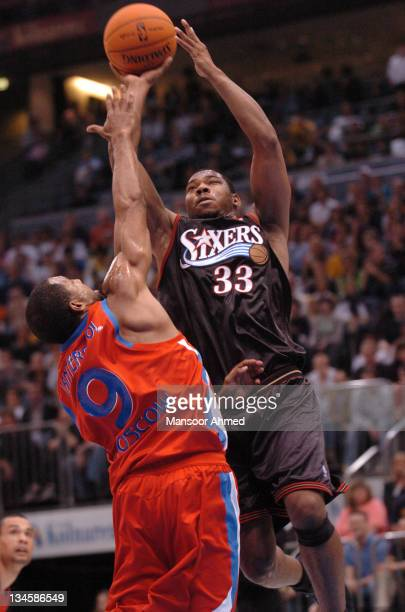 Willie Green of Philadelphia shoots over CSKA Moscow's David Vanterpool during the NBA Europe Live Tour presented by EA Sports on October 11, 2006 at...