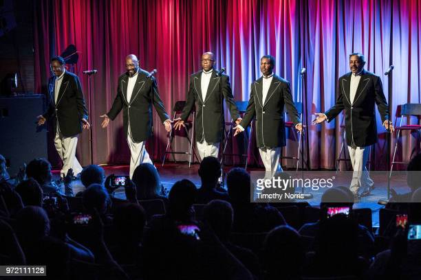 Willie Green Otis Williams Larry Braggs Terry Weeks and Ron Tyson perform during The Drop The Temptations at The GRAMMY Museum on June 11 2018 in Los...