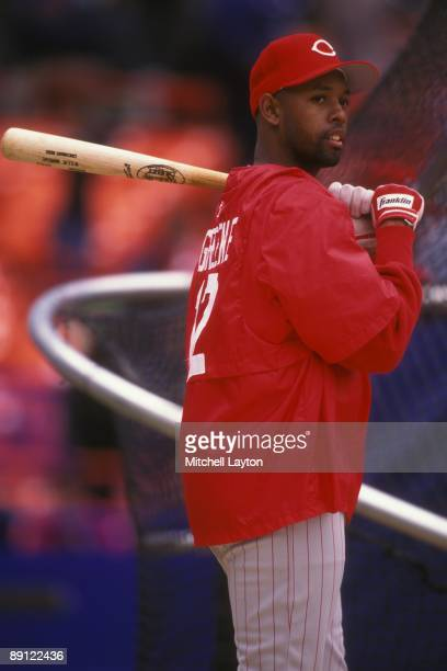 Willie Greene of the Cincinnati Reds looks on before a baseball game against the New York Mets on April 23 1997 at Shea Stadium in New York New York
