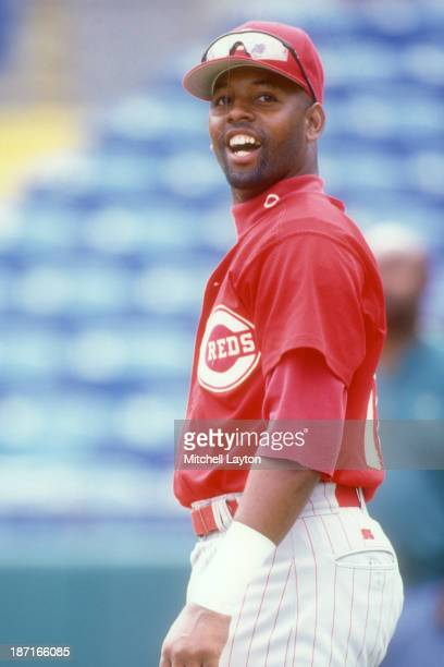 Willie Greene of the Cinicnnati Reds looks on during a baseball spring training workout on March 2 1997 at Plant City Stadium in Plant City Florida