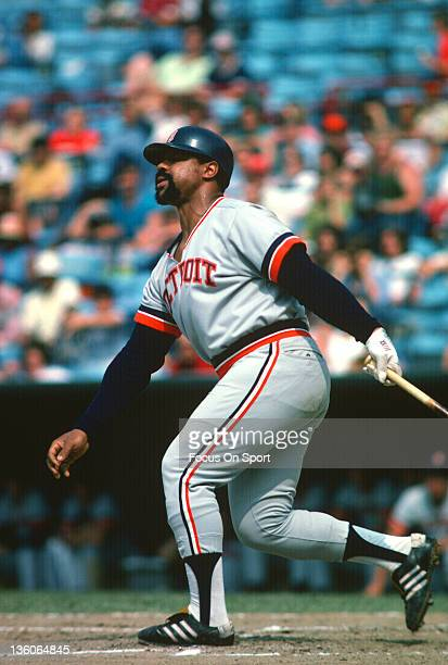 Willie Horton of the Detroit Tiger bats against the Baltimore Orioles during an Major League Baseball game circa 1977 at Memorial Stadium in...
