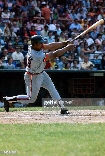 Willie Horton of the Detroit Tiger bats against the Baltimore Orioles during an Major League Baseball game circa 1975 at Memorial Stadium in...