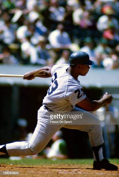 Willie Horton of the Detroit Tiger bats against the Oakland Athletic during an Major League Baseball game circa 1968 at the OaklandAlameda County...