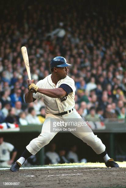 Willie Horton of the Detroit Tiger bats during an Major League Baseball game circa 1968 at Tiger Stadium in Detroit Michigan Horton played for the...