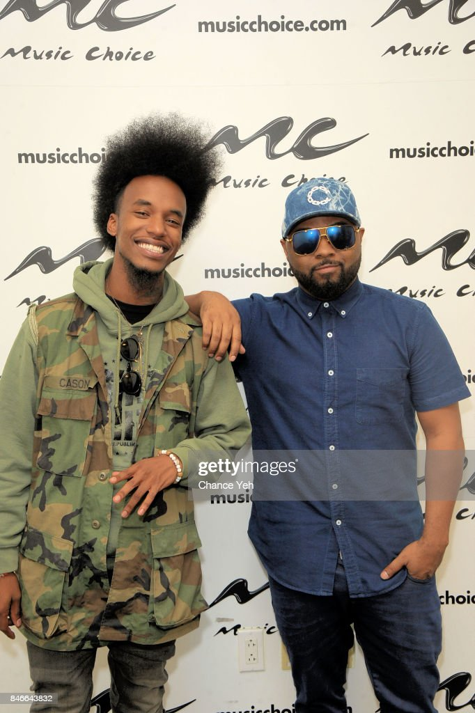 Willie Hyn (L) and Musiq Soulchild visits Music Choice on September 13, 2017 in New York City.