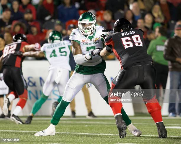 Willie Jefferson of the Saskatchewan Roughriders tries to break through the Ottawa Redblacks offensive line The Saskatchewan Rough Riders defeated...