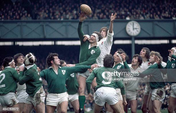 Willie John McBride of Ireland and Chris Ralston of England in lineout action during the Five Nations rugby union match at Twickenham in London on...