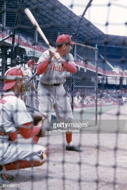Willie Jones of the Philadelphia Phillies hits in the batting cage before an MLB game against the Brooklyn Dodgers on May 22 1955 at Ebbets Field in...
