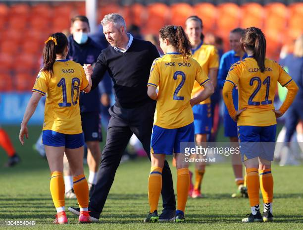 Willie Kirk, first team manager of Everton interacts with Hayley Raso of Everton following the Barclays FA Women's Super League match between...