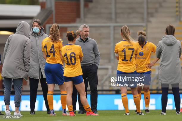 Willie Kirk the head coach / manager of Everton Women during the Barclays FA Women's Super League match between Manchester United Women and Everton...