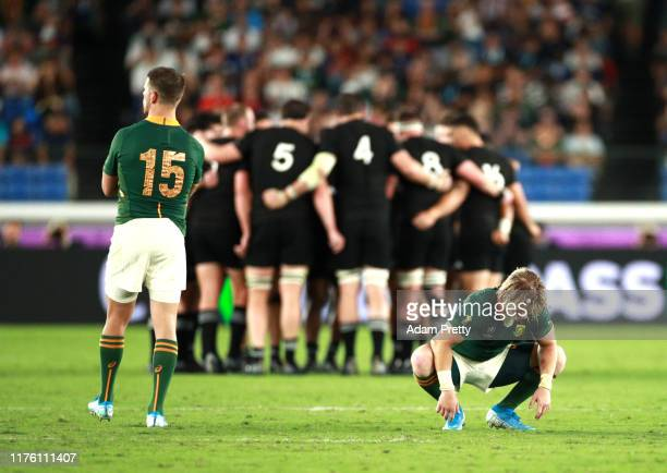 Willie le Roux and Faf de Klerk of South Africa are seen at the start of the second during the Rugby World Cup 2019 Group B game between New Zealand...