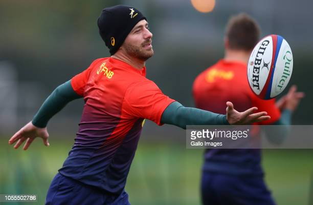Willie le Roux during the South African national rugby team training session at Latymer Lower School on October 30 2018 in London England