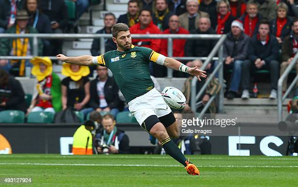 Willie le Roux of South Africa during the Rugby World Cup Quarter Final match between South Africa and Wales at Twickenham Stadium on October 17 2015...