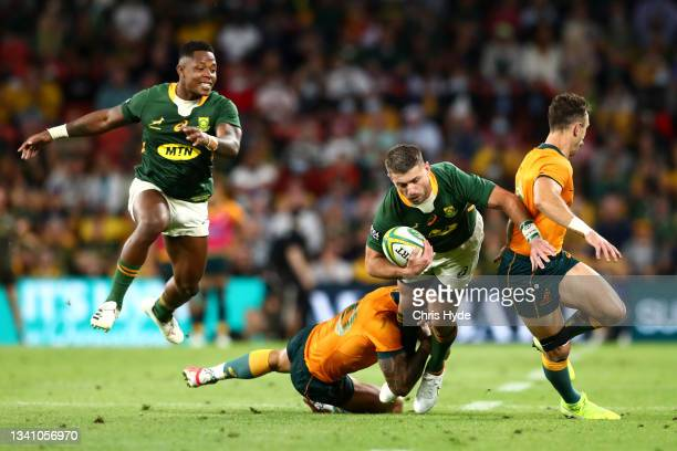 Willie le Roux of South Africa makes a break during The Rugby Championship match between the Australian Wallabies and the South Africa Springboks at...