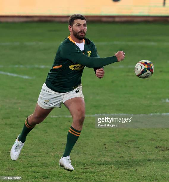 Willie le Roux of South Africa passes the ball during the Rugby Union international match between South Africa and Georgia at Loftus Versfeld Stadium...