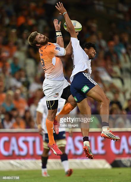 Willie le Roux of the Cheetahs and Melani Nanai of the Blues during the Super Rugby match between Toyota Cheetahs and Blues at Free State Stadium on...