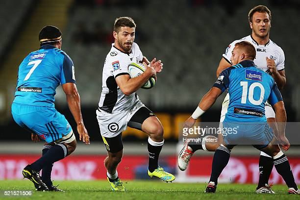 Willie le Roux of the Sharks makes a break during the round eight Super Rugby match between the Blues and the Sharks at Eden Park on April 16 2016 in...