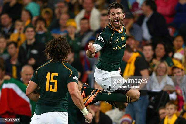 Willie Le Roux of the Springboks celebrates scoring a try during The Rugby Championship match between the Australian Wallabies and the South African...