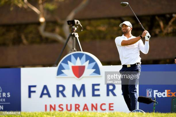 Willie Mack III hits his tee shot on the 14th hole during the first round of the Farmers Insurance Open at Torrey Pines South on January 28, 2021 in...