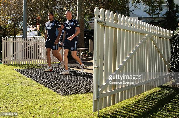 Willie Mason and Craig Fitzgibbon of the Blues arrive for a New South Wales Blues State of Origin training session at Sydney Football Stadium on June...