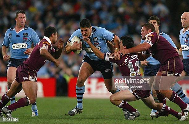 Willie Mason of the Blues in action during game three and the NRL State Of Origin series between the New South Wales Blues and the Queensland Maroons...