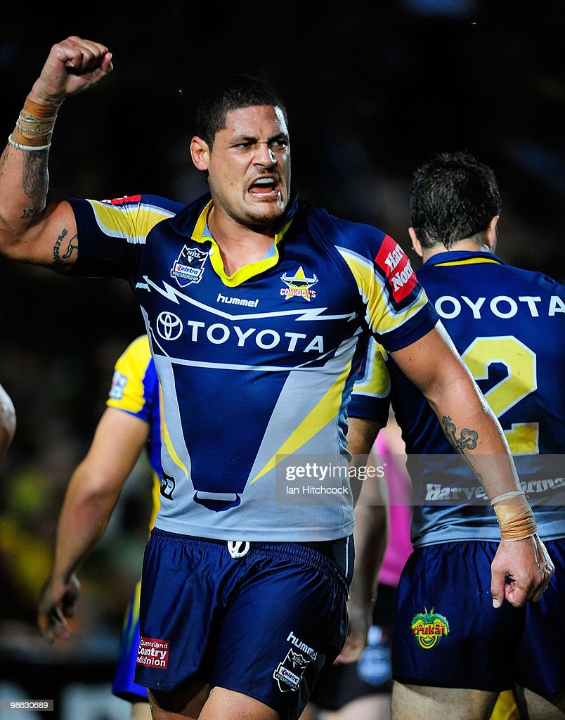 Willie Mason of the Cowboys celebrates the try of Willie Tonga during the round seven NRL match between the North Queensland Cowboys and the Parramatta Eels at Dairy Farmers Stadium on April 23, 2010 in Townsville, Australia.