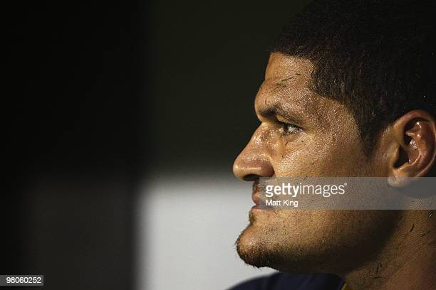 Willie Mason of the Cowboys looks on from the bench during the round three NRL match between the St George Dragons and the North Queensland Cowboys...