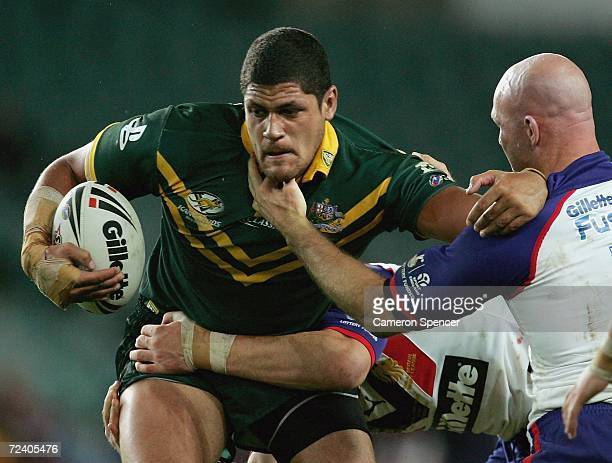Willie Mason of the Kangaroos avoids a tackle during the Tri-Nations Series match between the Australian Kangaroos and the Great Britain Lions at...