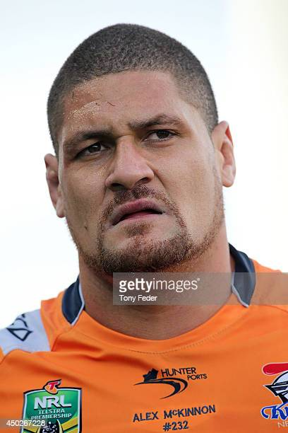 Willie Mason of the Knights during the round 13 NRL match between the Newcastle Knights and the Wests Tigers at Hunter Stadium on June 8 2014 in...
