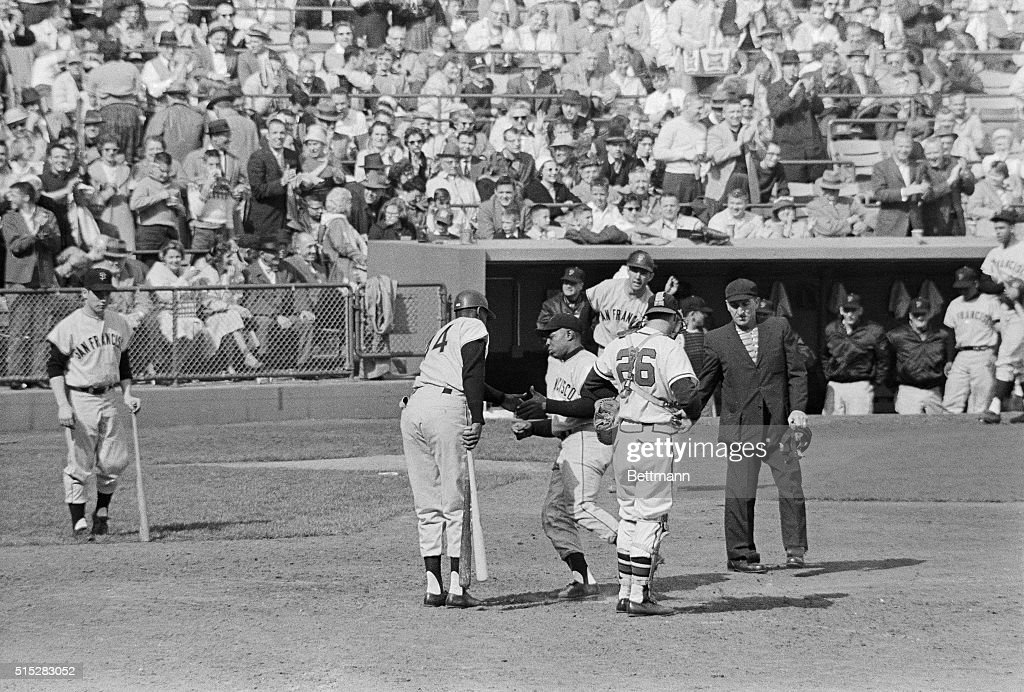 Willie Mays Returning to Dugout After Record Play : News Photo