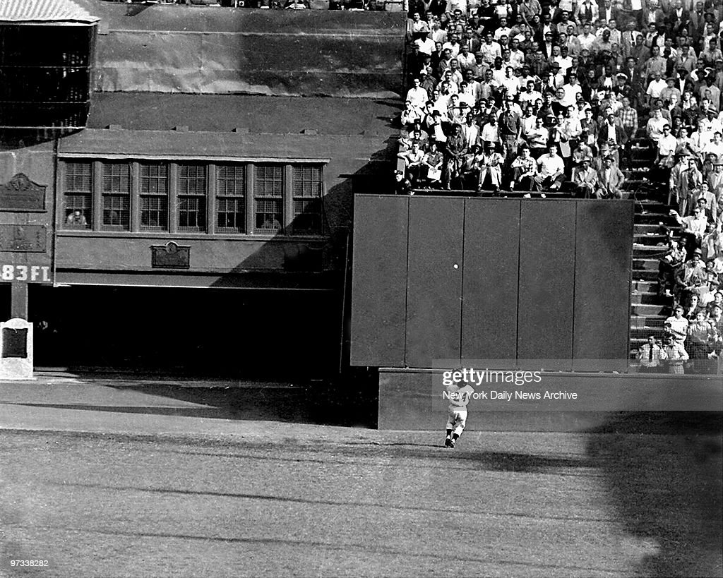 Willie Mays famous catch in the 1954 World Series. Catch was made in the Polo Grounds, against Vic Wertz of the Cleveland Indians. Mays caught the baseball going away from home plate.New York Giants sweep the series.