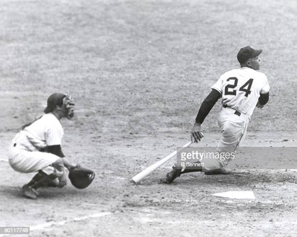 Willie Mays of the New York Giants bats against the New York Yankees during Game One of the 1951 World Series at Yankee Stadium on October 4 1951 in...