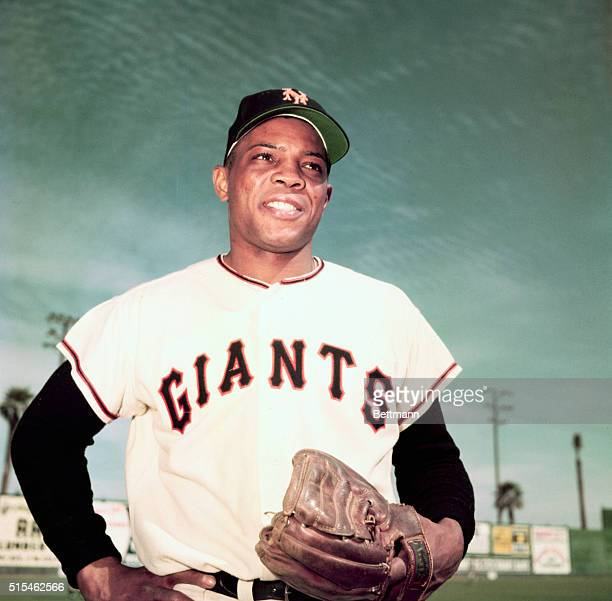 Willie Mays of the New York Giants. Waist-up photograph with hands on his hips.