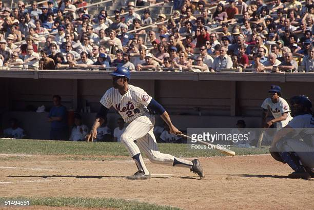 Willie Mays of the New York Mets swings hard at Shea stadium against the Los Angeles Dodgers during the 1973 season in Flushing New York
