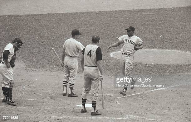 Willie Mays of the San Francisco Giants on his way to home plate after hitting a home run during the 1960 AllStar Game on July 13 1960 in Yankee...