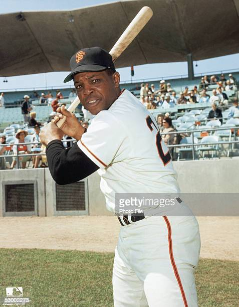 Willie Mays of the San Francisco Giants poses for an action portrait before a season game Willie Mays played for the San Francisco Giants from...