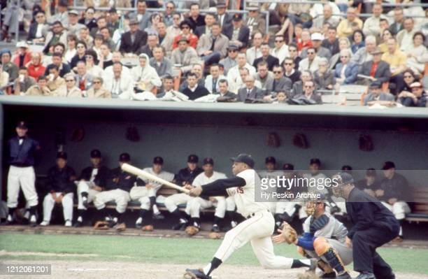 Willie Mays of the San Francisco Giants swings at the pitch during an MLB game against the Los Angeles Dodgers on May 20 1961 at Candlestick Park in...